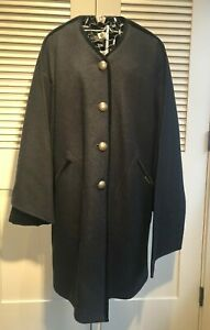 Geiger Boiled Wool Button Down Coat With Detachable Velvet Lined Scarf S 34