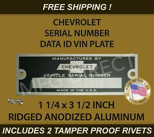 Chevy Chevrolet Serial Number Vin Door Tag Data Id Plate Ridged 1 1 4 X 3 1 2