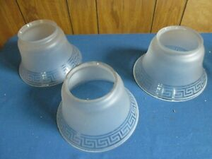 Set Of 3 Antique Gas Light Fixture Shades With Greek Key Frosted Glass