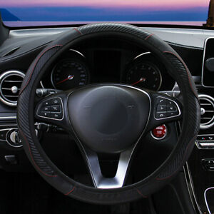 Black Carbon Car Steering Wheel Cover Leather Breathable Anti Slip Accessories
