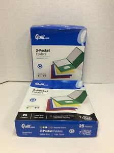 Quill Brand 2 pocket Folders Assorted 25 box 2 Boxes 7125ad Free Shipping