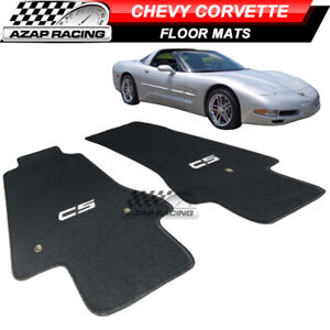 Fits 97 04 Chevy Corvette Coupe C5 Logo Oe Floor Mats Carpet Nylon Black 2pc