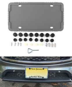 2 X Gray Silicone License Plate Frame Holder With Installation Screws Caps Us