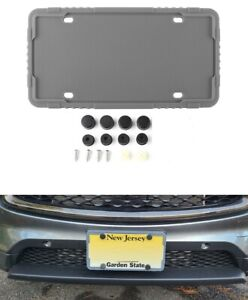 1 X Gray Silicone License Plate Frame Holder With Installation Screws Caps Us