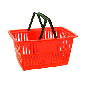 Store Shopping Baskets Plastic Totes For Grocery Convenience Retail Red blue