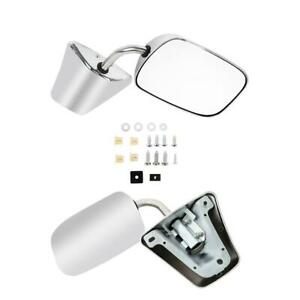 Stainless Steel Chrome Manual Side View Mirrors Lh Rh Pair Set For Chevy Truck