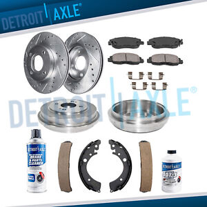 Front Drilled Rotors Rear Drums Brake Pads Shoes For 2001 2005 Honda Civic