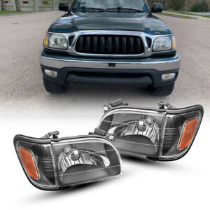 Headlights Assemby For 2001 2004 Toyota Tacoma Corner Signal Lamp Black Chrome