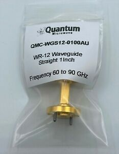 Wr 12 E band 1 Inch Waveguide Straight Gold Plated By Quantum Microwave