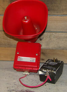 Vintage Red Federal Signal Siren Alarm Model Ashp Series A1 24vdc Fire safety