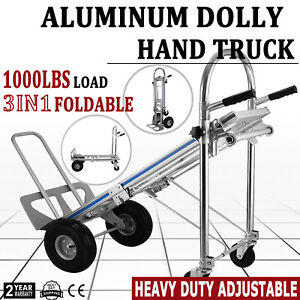 Aluminum Hand Truck Dolly 3in1 Heavy Duty 1000 Lbs Capacity Pneumatic Wheels New