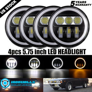 4x 5 3 4 5 75 In Round Led Headlights Hi lo Drl Amber Angle Eyes Projector