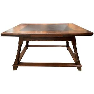 18th 19th Century German Or Swiss Walnut Draw Leaf Dining Table With Slate Top