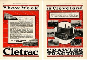1929 Cletrac Cleveland Tractor 2 Separate Pg Ad 1929 Road Show Special Ad
