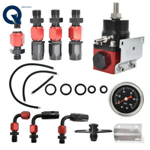 New Black red 6an Adjustable Fuel Pressure Regulator Kit Oil 0 100psi Gauge