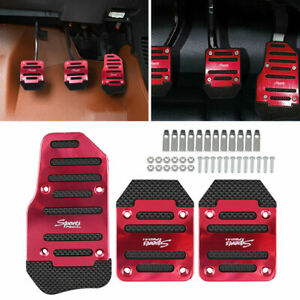 3pcs Universal Car Red Aluminum Manual Non slip Brake Foot Pedals Gas Pads Cover