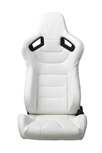 Cipher Auto Ar 9 White Leatherette W black Outer Stitching Racing Seats Pair New
