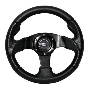 280mm Black Pvc Leather Stitch Racing Sport Steering Wheel With Mobil 1 Cf