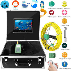 30m 9 Lcd Inspection Pipe 1000 Tvl Video Camera Led Waterproof Drain Pipe Sewer