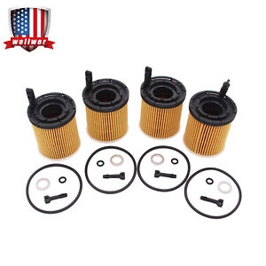 4x Oil Filter Pack W seals 26350 2m000 Fit For 2019 2020 Kia Rio 1 6l Engine New