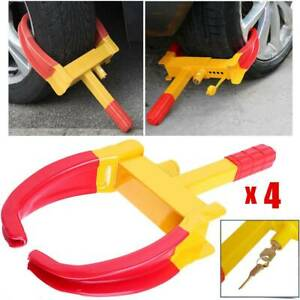 4 Pack Anti Theft Wheel Lock Clamp Boot Tire Claw Heavy Duty Auto Car Towing