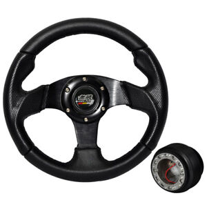 For 96 97 Accord 280mm 6 Hole Black Pvc Leather Steering Wheel W Mugen Hub