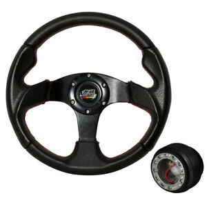 For 88 91 Civic 12 59 In Black Pvc Steering Wheel Red Stitch W Hub Mugen
