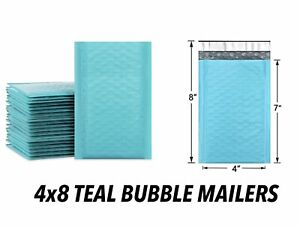 Teal Color Small 4x8 Bubble Padded Poly Mailers Lightweight Waterproof Envelopes