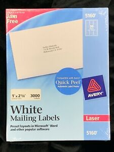 3000 Avery Laser 5160 Easy Peel White Mailing Labels 1 X 2 5 8 New