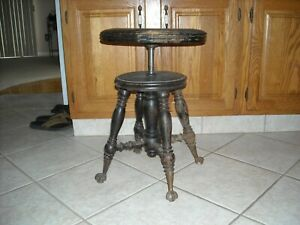 Antique Holtzman Adjustable Piano Stool Ball Claw Feet Rustic D Cor Plant Stand