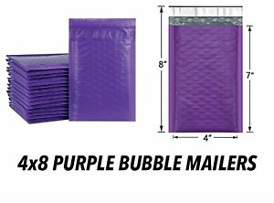 4x8 Purple Poly Mailers Padded Adhesive Strap Used For Shipping Small Items New