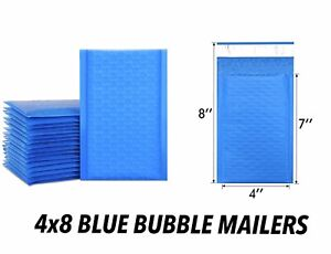 Blue Bubble 4x8 Padded Poly Envelopes Small Shipping Mailers Strong Heavy Duty