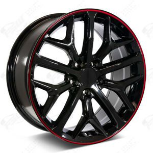 18 2020 Si Style Gloss Black W Red Stripe Wheels Fits Honda 5 Lug Civic Accord
