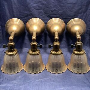 Set Of Four Brass Sconces Rare Antique Etched Amber Shades 32b