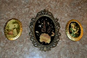 Vintage Set Of 3 Frames Made In Italy 2 Wooden 1 Metal With Dried Flowers