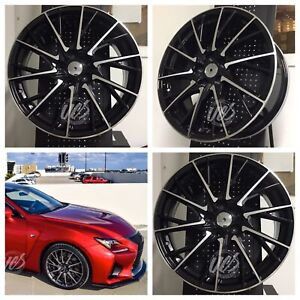 New 19 X 7 5 Rcf F Sport Style Black Rims Wheels Fits Toyota Lexus 5x100 Set 4