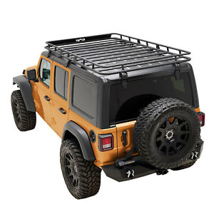 Eag Fits 18 21 Jeep Wrangler Jl 4 Door Roof Rack Cargo Carrier W Wind Fairing