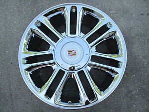 22 New Platinum Style Cadillac Escalade Chrome Wheel 5358 With Cadillac Cap