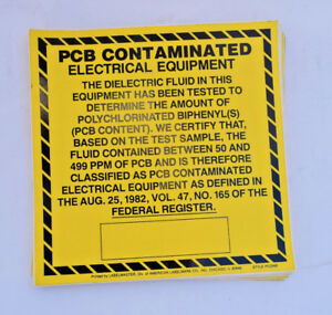 Pcb Contaminated Electrical Equipment Label Indicating It Has Been Tested For