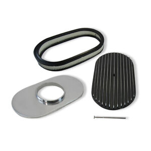 15 X 3 oval Polished Aluminum Full Finned Top Air Cleaner W Element Black