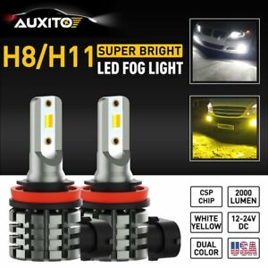 H11 H8 White Yellow Led Fog Light Bulbs Dual Color Super Bright Drl Auxito Lamp