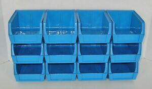 Lot Of 12 Mini Stackable Or Hanging Blue Plastic Storage Bins Free Usa Ship