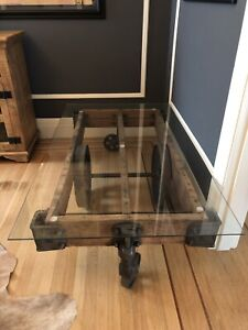 Antique Lineberry Factory Industrial Cart Rail Road Coffee Table