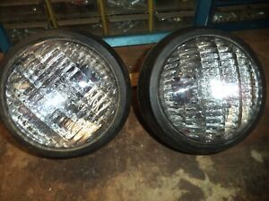 Vintage 2 Tractor Pair Fog Light Lamp Black Rat Rod Project Toggle Switchs