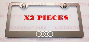 2x Audi Stainless Steel Chrome Mirror Finished License Plate Frame Holder