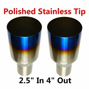 2x 2 5 in 4 out Blue Burnt Exhaust Single Layer Straight Tip Polished Stainless