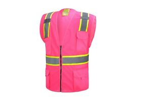 Pink Two Tones Safety Vest with Multi pocket Tool