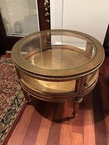 M21000001 Weiman Vintage Gold Gilded Curio Table Authentic
