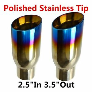 2pcs Blue Burnt Exhaust Slant Cut Polished Stainless Tip 2 5 In 3 5 Out