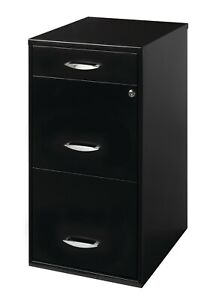 Metal File Cabinet With Pencil Drawer 18 In Deep Black Cam Lock Top Storage New